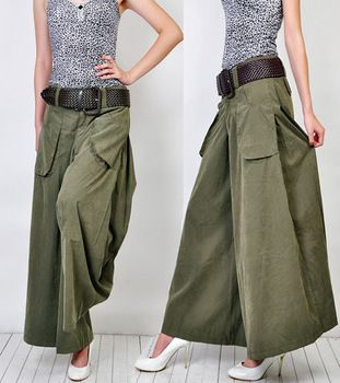 2014  fashion spring Summer plus size plus size wide leg open pants casual woman  ankle length trousers XS-6XL army green black