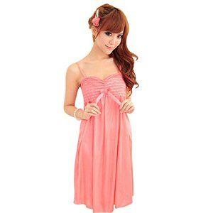 reine à la mode – Nuisette/Lingerie,Robe Longue de Nuit,avec String,en Soie de Glace,une Taille (taille unique, rouge)