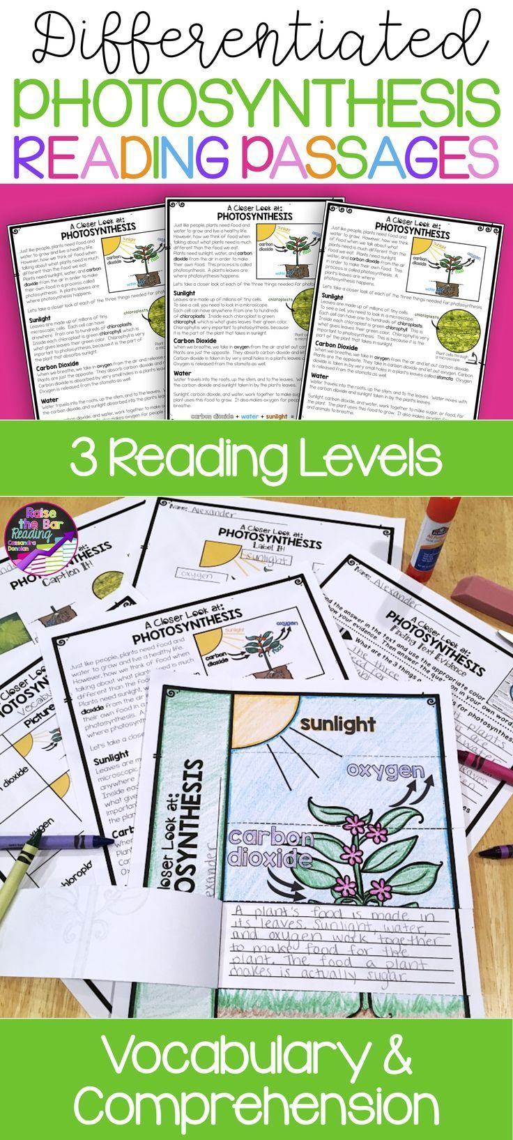Photosynthesis Differentiated Reading Passages Comes With Tons Of Vocabulary Comprehension Reading Passages Photosynthesis Differentiated Reading Passages [ 1635 x 736 Pixel ]