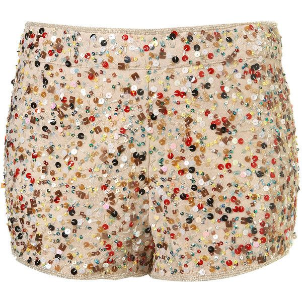 Multi Coloured Sequin Shorts (€89) ❤ liked on Polyvore featuring shorts, bottoms, topshop, pants, women, cream shorts, sequin shorts, multi colored shorts and colorful shorts