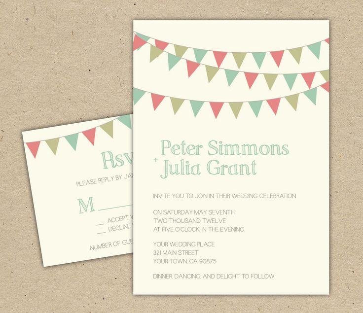 Wedding Invitation. DIY printable template. modern, bunting, flags ...