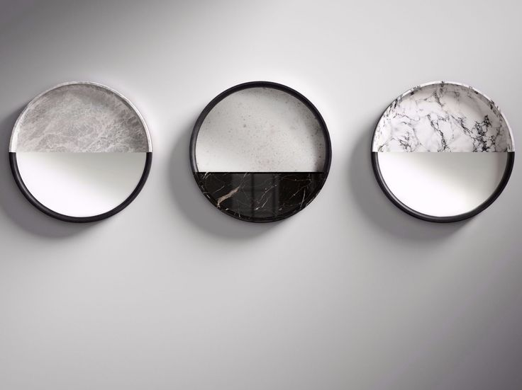 Round wall-mounted marble mirror