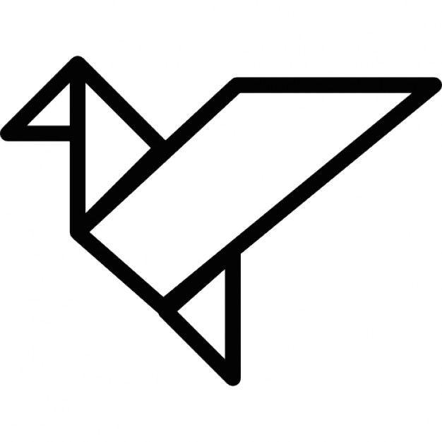 Uccello in volo origami profilo Icone Gratuite