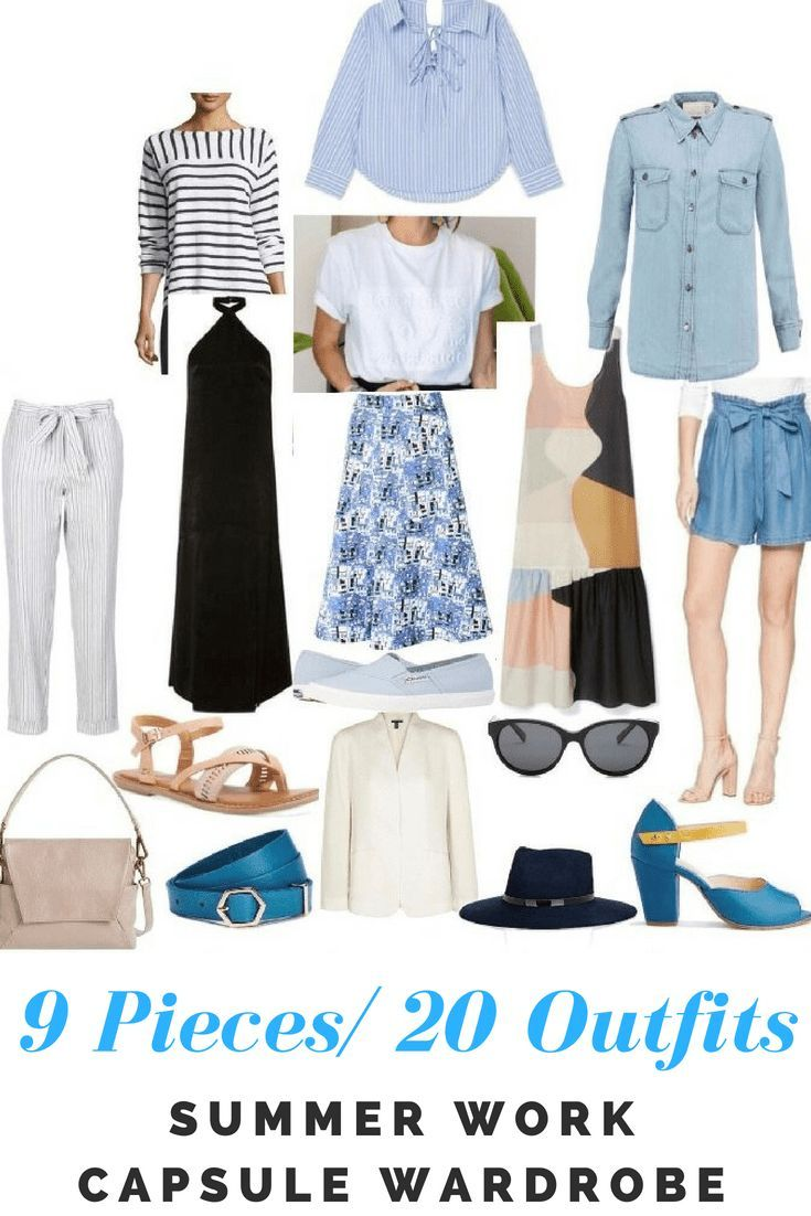 Summer work capsule wardrobe. 9 pieces/ 20 outfits #capsulewardrobe  #summerstyle #work #style #styleinspiration #outfitideas #summervibes