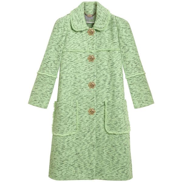 Frayed Coat Mint Cotton Tweed ($3,000) ❤ liked on Polyvore