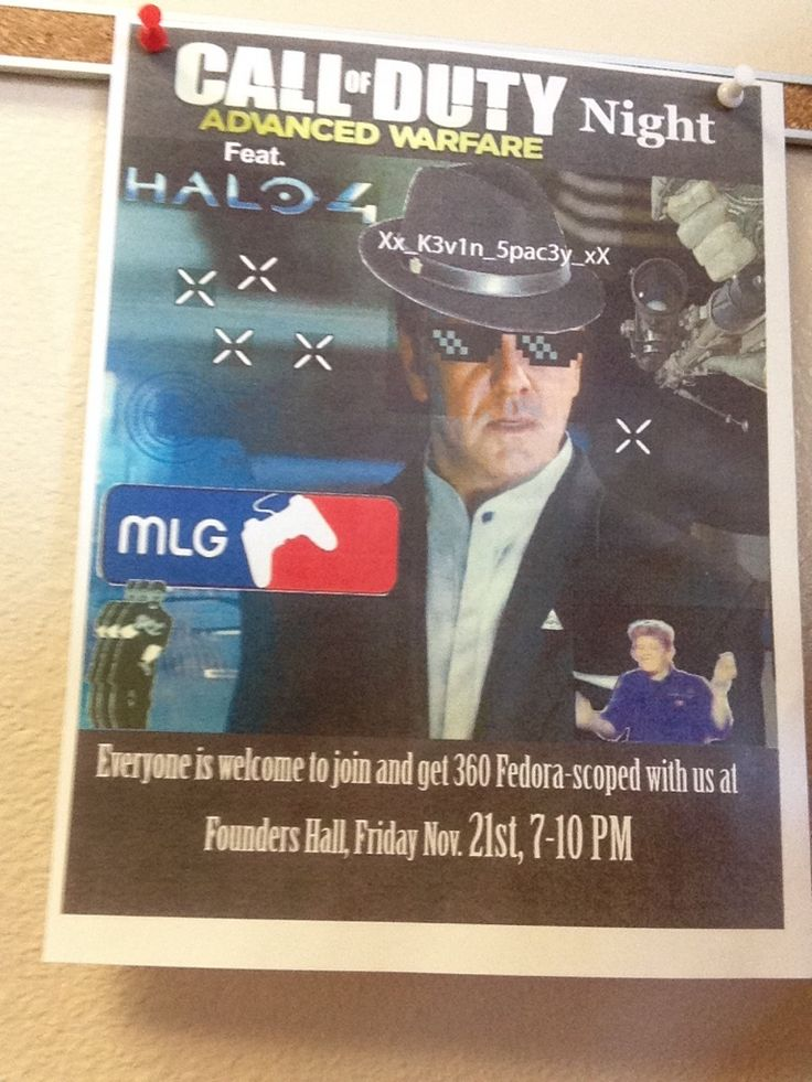 Poster for a game night at the local college