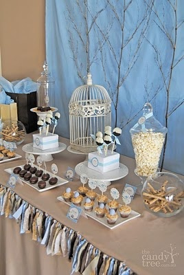 """""""Feather Her Nest"""" baby shower!  Love the branches in back and the garland!"""
