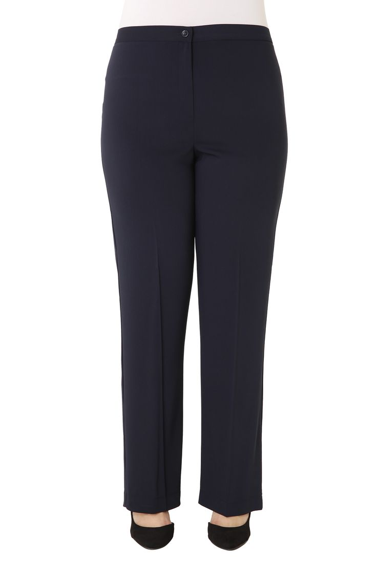 Crepe straight leg tailored trousers with elastic waistband. Available in 4 colours.