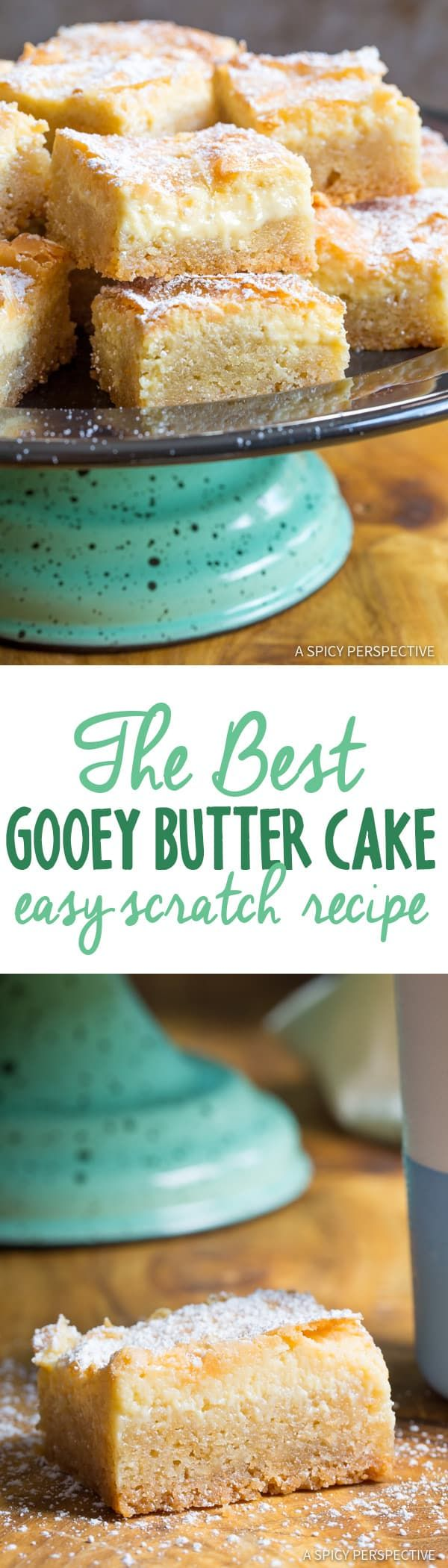 The Best Gooey Butter Cake Recipe (Similar to Chess Squares and Philadelphia Style Cake) #holidays #christmas via @spicyperspectiv