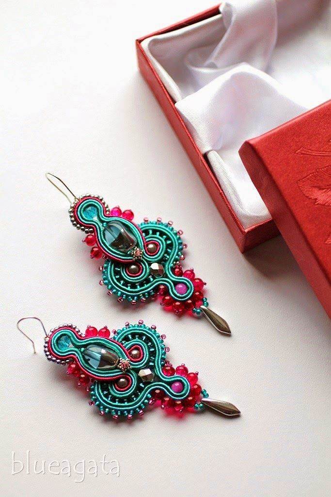 blueagata: Fuchsia and turquoise soutache earrings