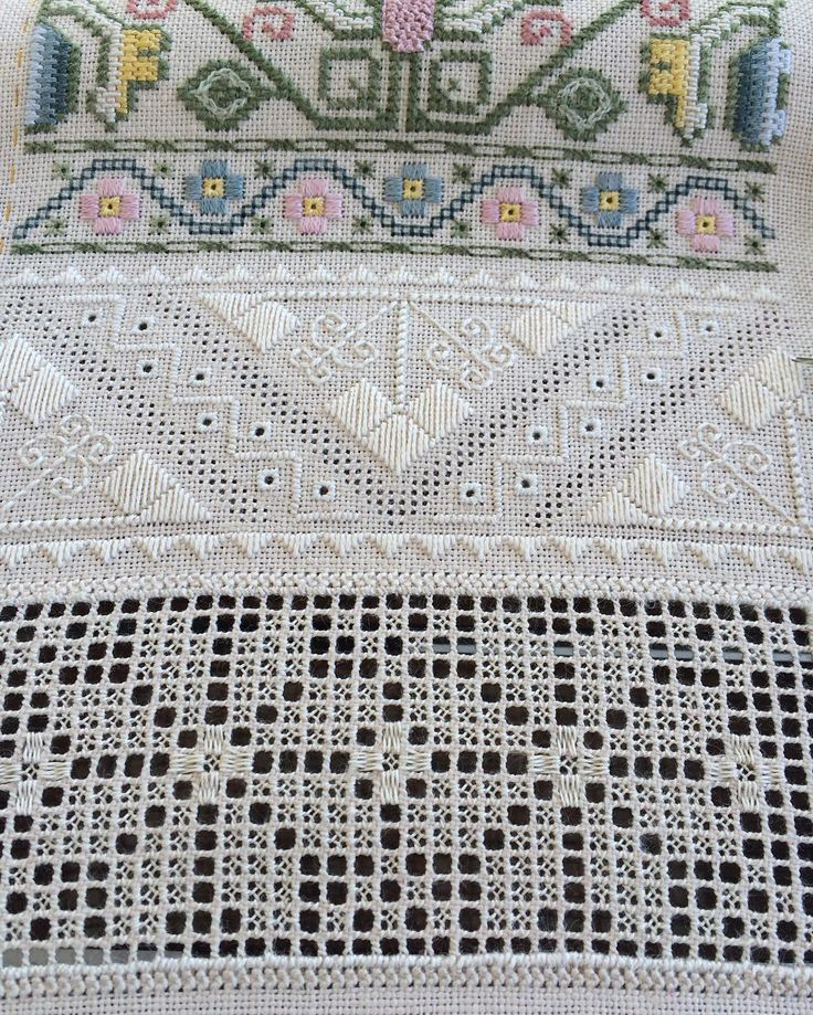 """""""My Proper Stitch #sampler is growing . There is going to be another #whitework row with very interesting variety of stitches / мой самплер продвигается…"""""""