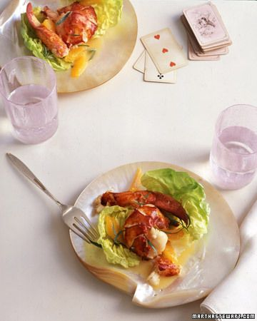 Warm Butter-Poached Lobster Salad with Tarragon-Citrus Dressing - Martha Stewart Recipes ( I have some left over crab and think I could use it in place of the lobster)