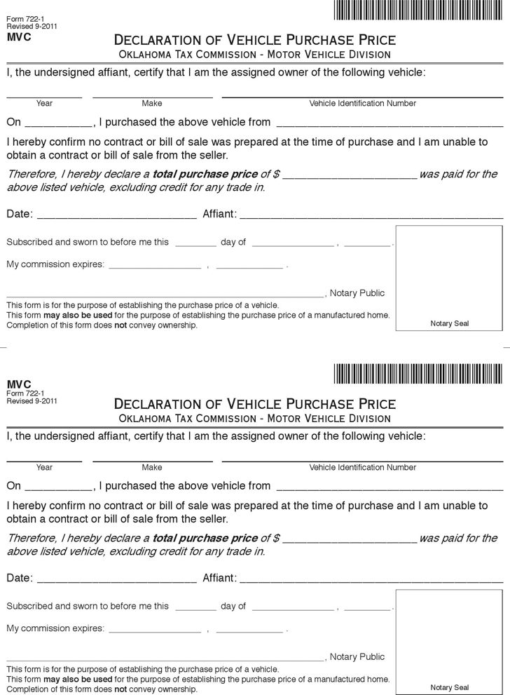 oklahoma vehicle bill of sale download the free printable