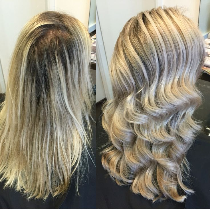 Long blond hair waves made by Ghd Curve