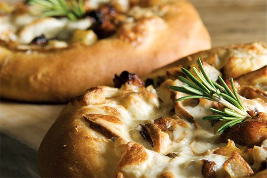 Mini Pizzas with Pan-Roasted Rosemary Potatoes, Sausage, & Smoked Scamorza #NationalCheesePizzaDay