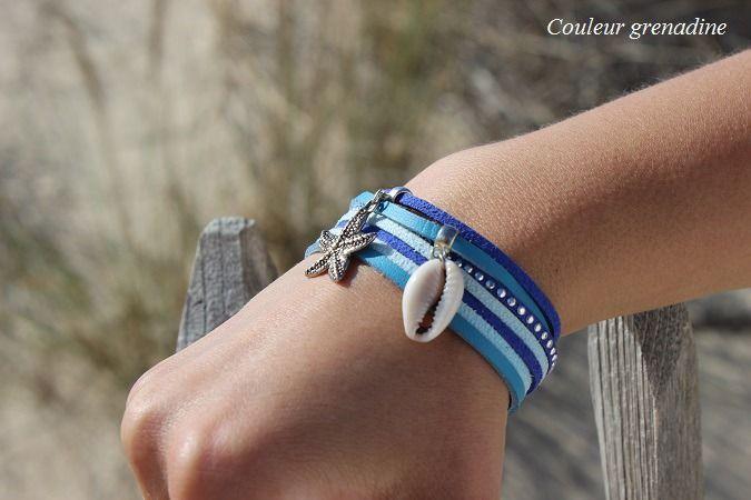 Bracelet manchette bleu multi rangs océan étoile de mer coquillage : Bracelet par couleur-grenadine33
