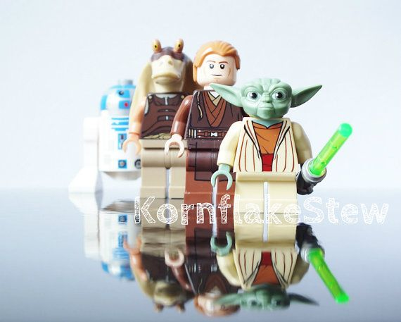 "Star Wars Lego Yoda Minifigure Childrens Wall Art 10""x8"" Print Room Decor on Etsy, $17.08"