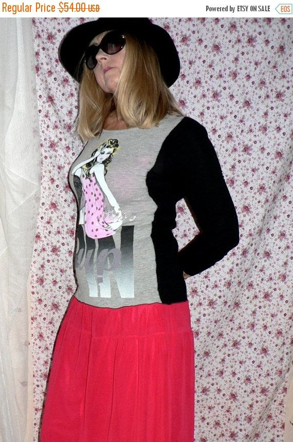 Christmas Sale Recycling, vintage, dress with Pin Girl