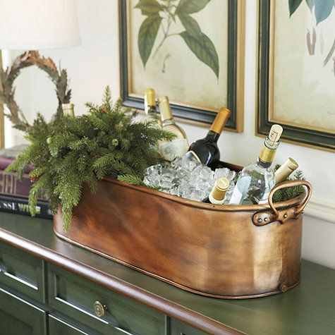 Serve wine from Antiqued Copper Beverage Tub - evergreen bough decor