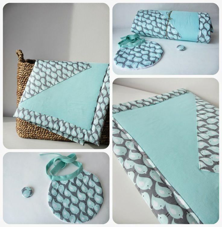 Idée de cadeau de naissance à faire soi-même : plaid et bavoir assortis dans un joli tissu...