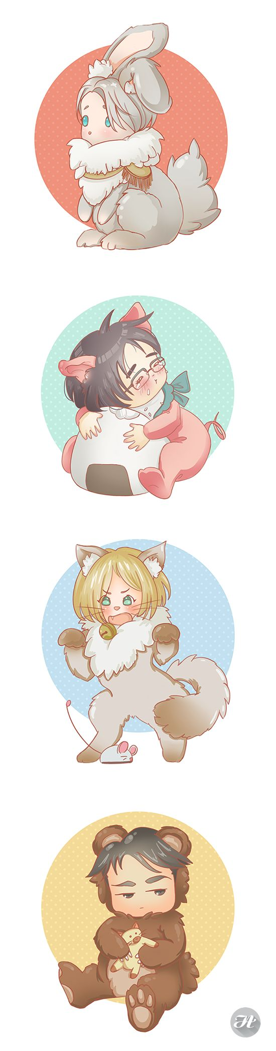 Furry on Ice!  Happy Anniversary Yuri on Ice!  yurionice yuurikatsuki victornikiforov yuriplisetsky yurionicefanart otabekaltin otabae victuuri otayuri otayurio chibi furry furryart furrychibi rabbit bunny neko kitten kitty bear bearhug piggy piggytails katsudon porkcutletbowl onigiri kawaii cuteadorable yaoi yoi