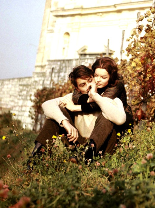 In all our wrongs I want to write him in a time where I can find him before the tears that tore us when our history was before us. - Lang Leav -  Alain Delon & Romy Schneider, 1959