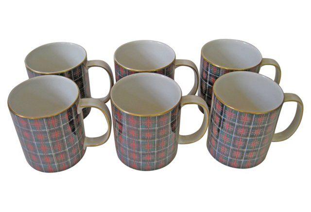 "Wedgwood Ralph Lauren Tartan Mugs, S/6   one kings lane   Bold set of six Wedgwood English porcelain mugs in Ralph Lauren's Anderson Tartan design. Gilded handles and rims. Marked ""Ralph Lauren Anderson Tartan Wedgwood Made in England.""   c.1980's   299.00"