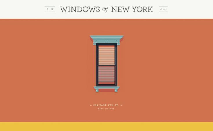 One of the most simplest sites in the group, Windows of New York, is ahead of the popular flat design trend. Quite simply it is a blog dedicated to illustrating the windows of New York City, showing that you can show creativity in others ways besides selling something.