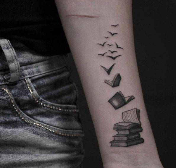 40 amazing book tattoos for literary lovers wings for Tattoo girl book