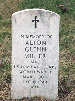 Glenn Miller (1904 - 1944) - military headstone, a cenotaph in Arlington National Cemetery - Miller's body was never found after his plane went down in WWII. Find A Grave Photos