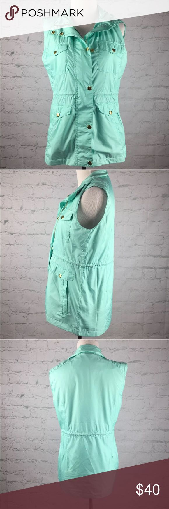 Peter Millar zip up vest size small NWT Peter Millar  Womens small  Brand new with tags, Peter Millar vest in spa blue.  Cinch waist, hits at hips/ just below hips. Gold hardware.  Zipper closure and snap buttons.  Colorful lining. Peter Millar Jackets & Coats Vests
