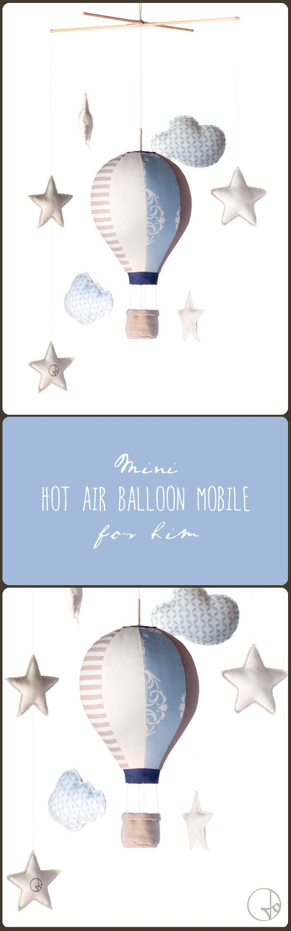 Mini hot air balloon mobile with stars and clouds for him by Jo handmade design. #hotairballoon #mobile #nursery
