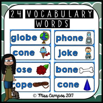 Long Vowels Long O Magic E CVCe Words worksheets and word wall cards