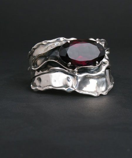 Cuff   Donald Marksz. Sterling silver and Ametrine