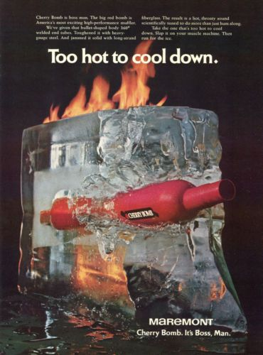 1971 Cherry Bomb High Performance Muffler Ice on Fire Too Hot to Cool Down Ad   eBay