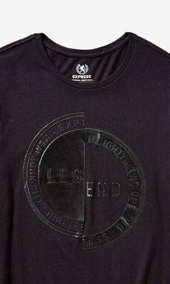 black legend stamp drop hem graphic tee from EXPRESS