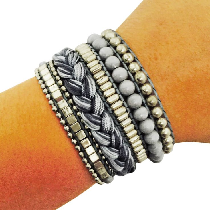 Fitness Tracker Bracelet for Avia Aspire, Fitbit Flex, One or Charge - The ROSIE Grey and Silver Beaded Stacked Snap Bracelet by FUNKtional Wearables