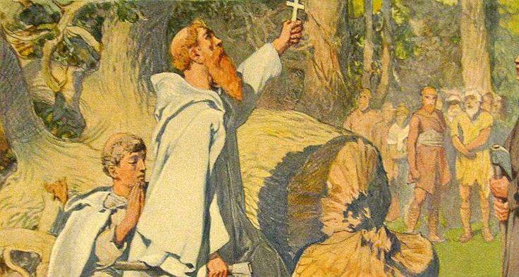 Bonifatius te Dokkum vermoord. Ja dat krijg ervan als je heilige eiken omhakt dat is niet milieu-vriendelijk en die Friezen die pikten dat niet.