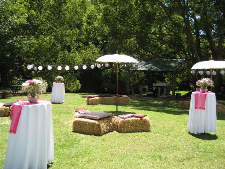 pink and white color Garden Wedding Decorations