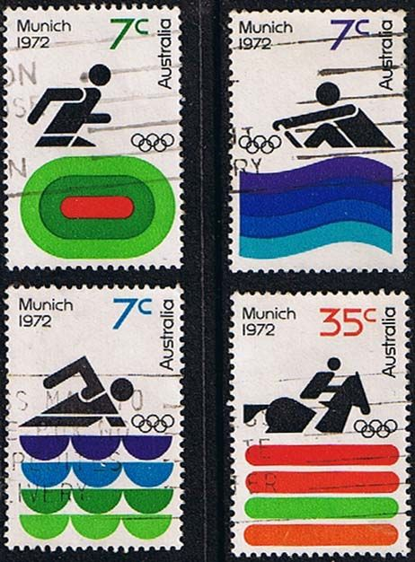 Australia 1972 Munich Olympic Games Set Fine Used    SG 518 21 Scott 527 30       Condition Fine Used    Only one post charge applied on multipule