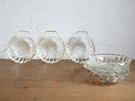 Vintage Pyrex Shell Dishes Set Of 6 Clear Glass Pyrex