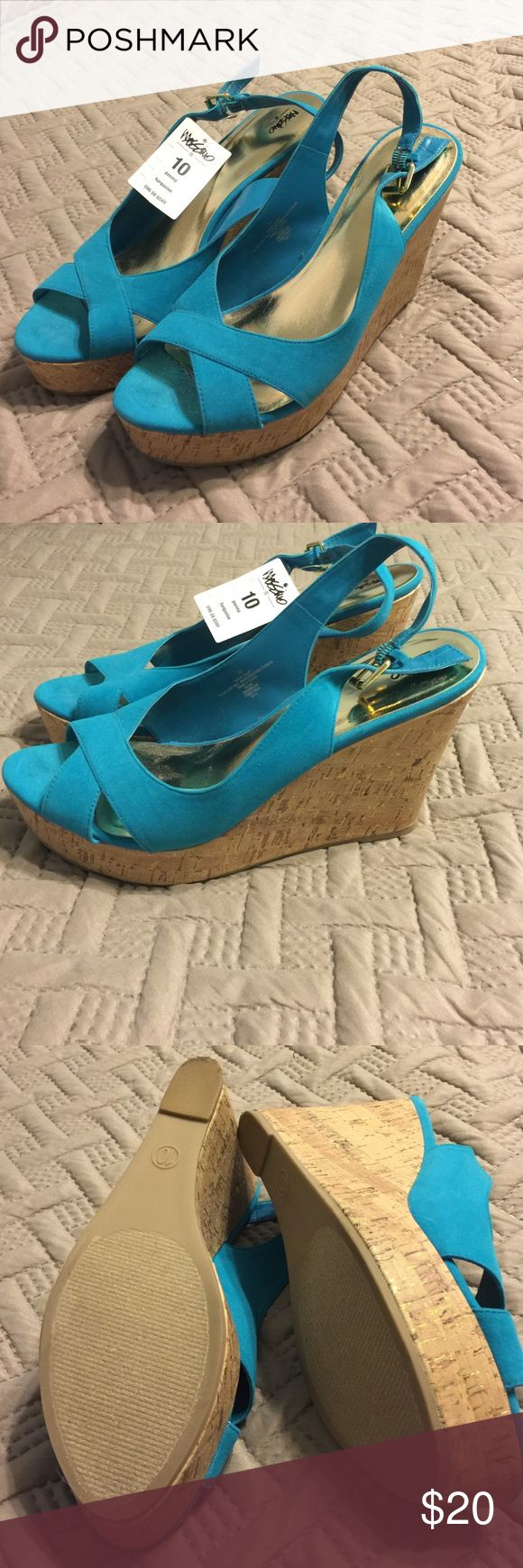 "NWT Turquoise Wedges Size 10 These wedges are great for the office, school, wedding, or any other special event! Brand new with tags, never worn.  5"" wedge. Clean, smoke free home. Mossimo Supply Co Shoes Wedges"