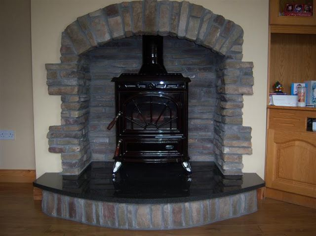 Stanley stove ,stone fireplace