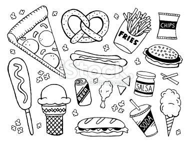 Junk Food Doodles Royalty Free Stock Vector Art Illustration