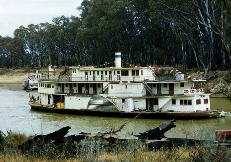 PS Gem being towed from Mildura to Swan Hill by Oscar W following purchase for the Swan Hill Folk Museum