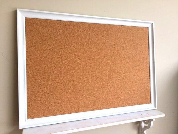 Cork Board Modern White Home Office Organizer Large