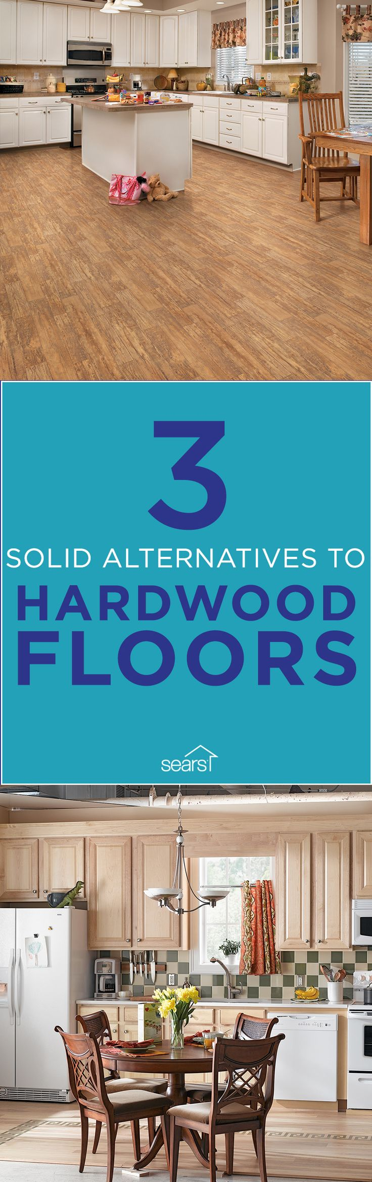 Hardwood floors are beautiful, warm and timeless — but they can also be expensive and require a good amount of maintenance. If you don't want to splurge on real hardwood floors or you just want something a little different, the alternatives to wood floors are hard to beat in price, maintenance and looks. Sears carries options in low-cost laminate, wood-look tile and luxury vinyl tile. Visit the Sears Home Improvement blog for more details on alternatives to hardwood floors.