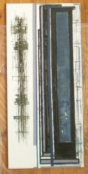 Nota di una linea  50x109 olio, smalto, elementi cartacei