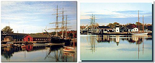 Peaceful View of Lake With Harbor and Boats Two Set Art P...…