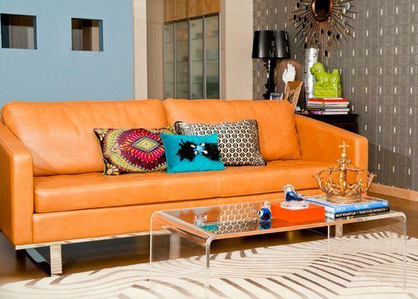 Living Room: Orange Leather Sofa Lucite Coffee Table Lamiante Flooring Wall Lighting Table Lamp Acrylic Coffee Table: 10 stylish design acrylic coffee table ikea